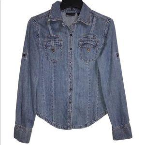 DKNY - Women's S - Blue Denim Long Sleeve Shirt